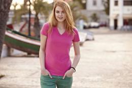 Dámské tričko Lady-Fit V-Neck T