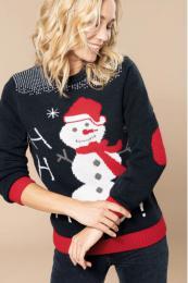 Vánoční svetr unisex se sněhulákem - Výprodej